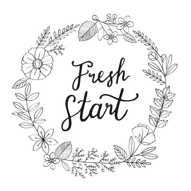 Illustration de typographie de fleur de nouvel an Vecteur gratuit