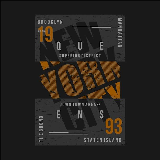 Illustration De Typographie Graphique De Cadre De Texte New York City Pour T-shirt Imprimé Vecteur Premium