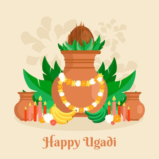 Illustration Ugadi Design Plat Vecteur Premium