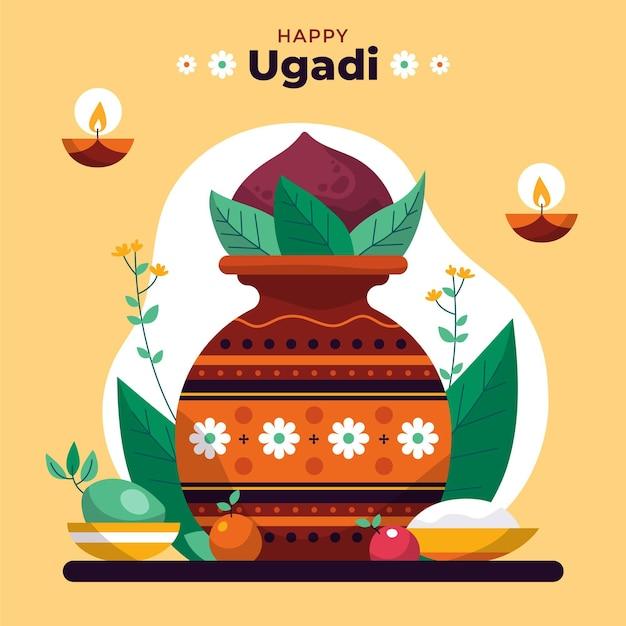 Illustration D'ugadi Heureux Dessiné à La Main Vecteur gratuit
