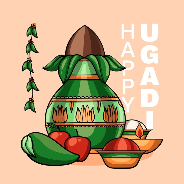 Illustration D'ugadi Heureux Dessiné à La Main Vecteur gratuit