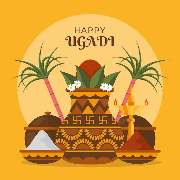 Illustration Ugadi Plate Vecteur gratuit