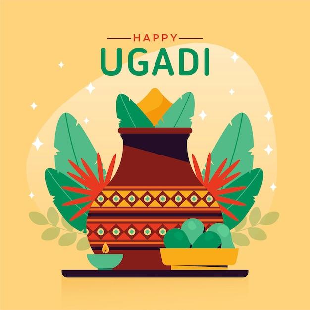 Illustration Ugadi Plate Vecteur Premium