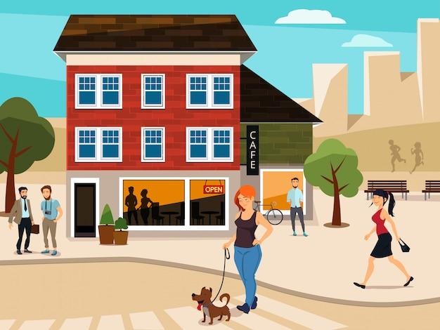 Illustration urbaine avec des gens qui marchent dans la rue Vecteur Premium