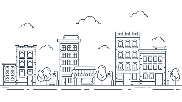 Illustration urbaine en traits fins Vecteur Premium