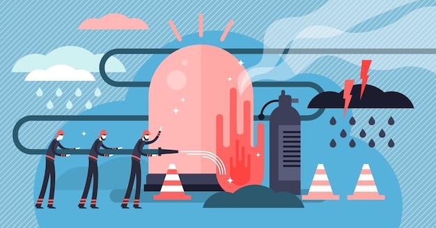 Illustration D'urgence. Petit Concept De Personne De Sauvetage Pompier. Vecteur Premium