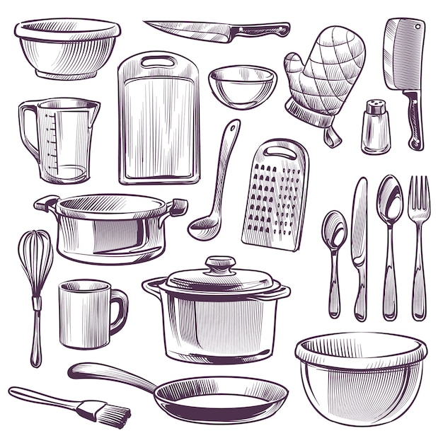 Illustration D'ustensiles De Cuisine Vecteur Premium
