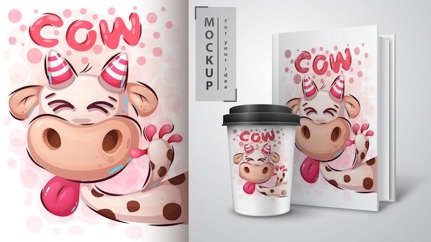 Illustration de vache folle et merchandising Vecteur Premium