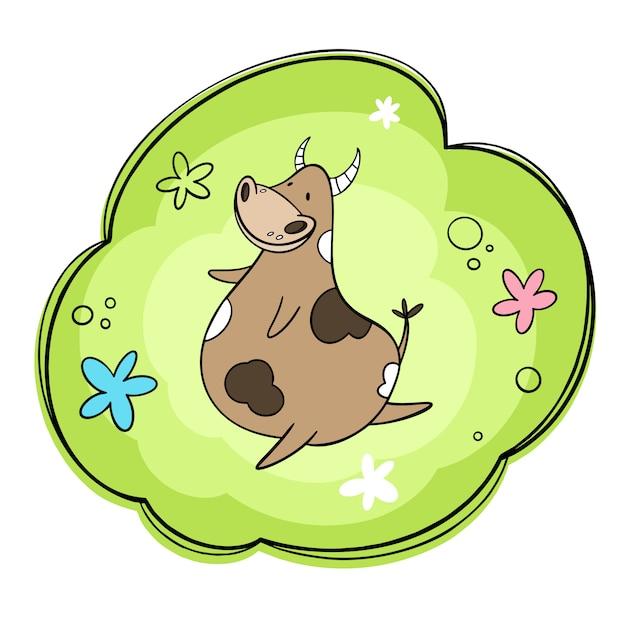 Illustration d'une vache heureuse dansant dans un pré. fleurs et prairie. cartoon, styles dessinés à la main Vecteur Premium
