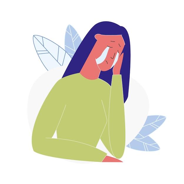 Illustration de vecteur de dessin animé femme qui pleure Vecteur Premium