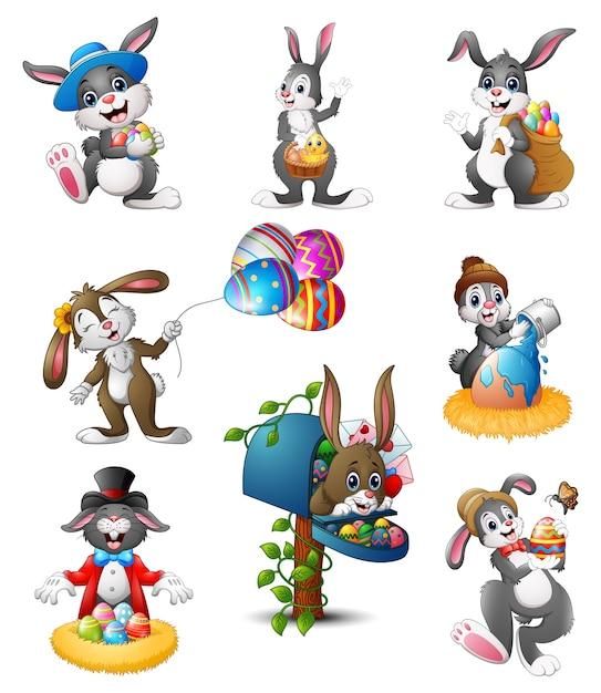 Illustration de vecteur de dessin animé de set of easter bunnies Vecteur Premium