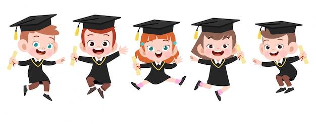 Illustration de vecteur graduation enfants heureux isolé Vecteur Premium