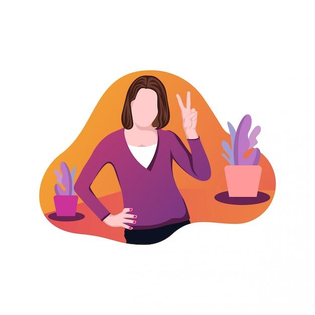 Illustration d'un vecteur de jour de la main de la femme Vecteur Premium