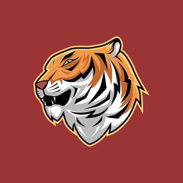 Illustration de vecteur de mascotte de tête de tigre effrayant Vecteur Premium