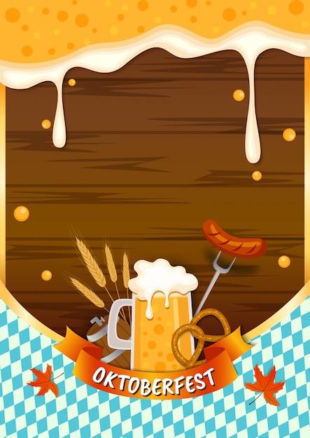 Illustration vecteur d'oktoberfest avec bière splash nourriture et boisson sur fond de planche de bois Vecteur Premium