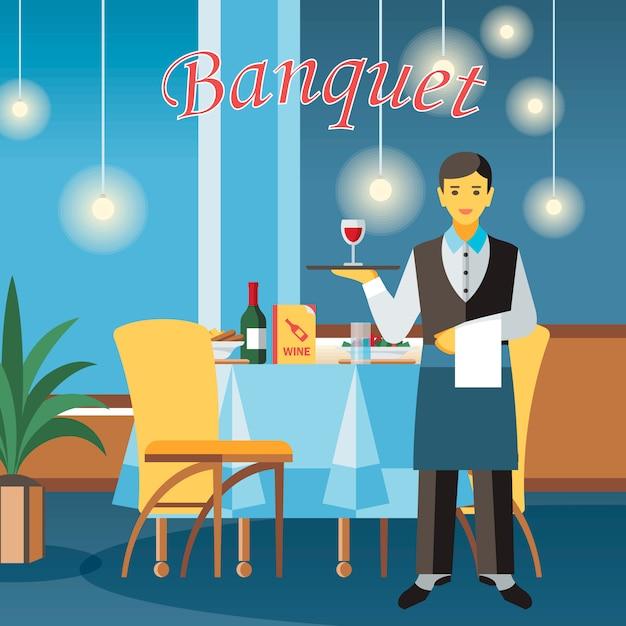 Illustration de vecteur plat banquet hall Vecteur Premium