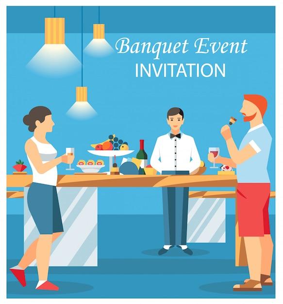 Illustration de vecteur plat invitation carte banquet Vecteur Premium
