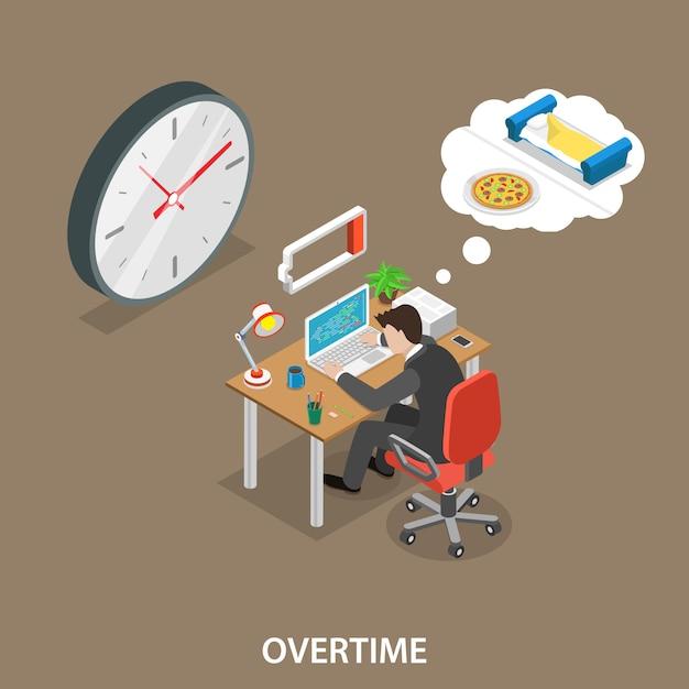 Illustration de vecteur plat isométrique des heures supplémentaires Vecteur Premium