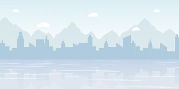 Illustration de vecteur plat panorama brumeux de paysage urbain Vecteur Premium