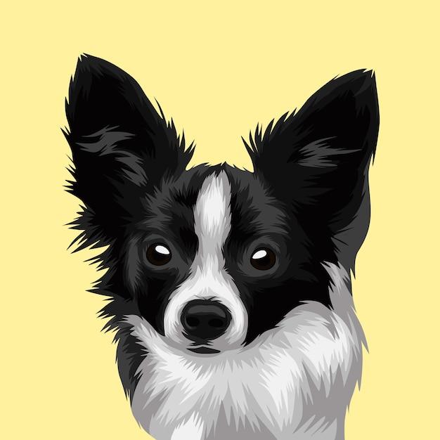 Illustration de vecteur réaliste tête de chien Vecteur Premium