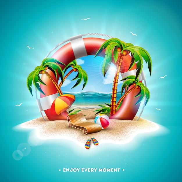 Illustration de vecteur vacances été avec bouée de sauvetage et de palmiers Vecteur Premium
