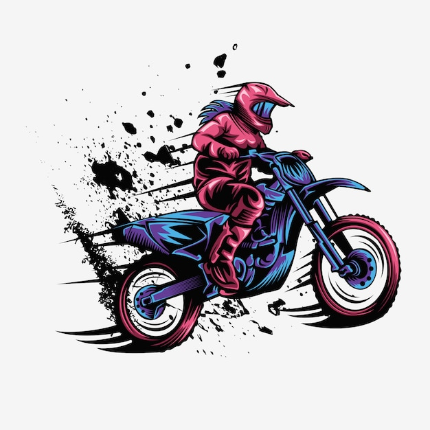 Illustration de vecteur vitesse splash motocross féminin Vecteur Premium