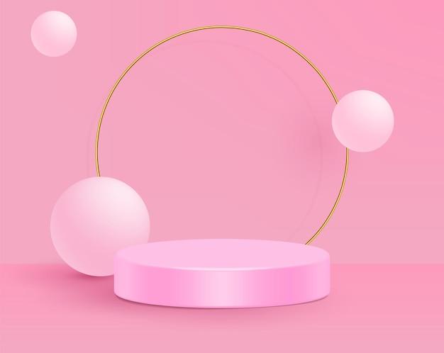 Illustration Vectorielle 3d Stand Scène De Mur Rose Minimal. Vecteur Premium