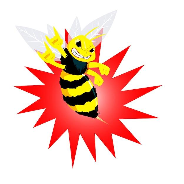 Illustration vectorielle d'abeille en colère. dessin animé Vecteur Premium