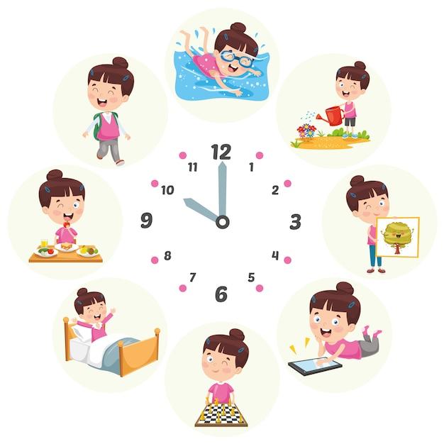Illustration vectorielle des activités quotidiennes des enfants Vecteur Premium