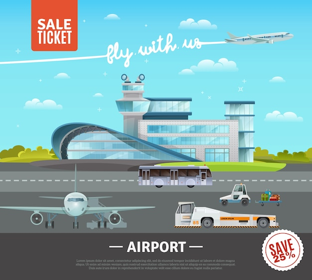 Illustration vectorielle aéroport Vecteur gratuit