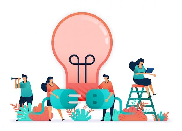 Illustration vectorielle d'ampoules à éclairer à l'électricité. connecter la fiche et les prises. Vecteur Premium