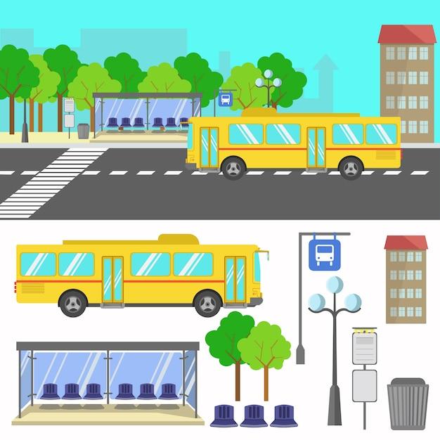 Illustration vectorielle de l'arrêt de bus. Vecteur Premium