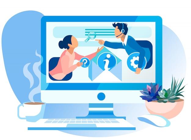 Illustration vectorielle d'assistance internet call center. Vecteur Premium
