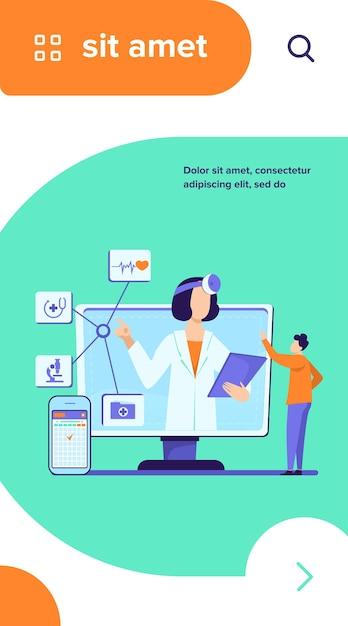 Illustration Vectorielle D'assistance Médicale En Ligne. Homme Utilisant L'application Smartphone Pour Consulter Un Médecin Vecteur gratuit