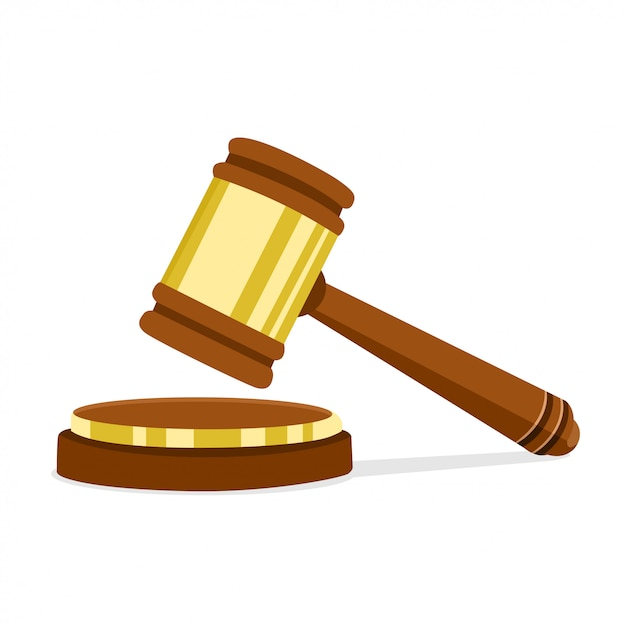 Illustration Vectorielle Au Design Plat Marteau De Juge En Bois Du Président Pour L'arbitrage Des Peines Et Des Projets De Loi. Symbole Juridique Et De Vente Aux Enchères. Vecteur Premium