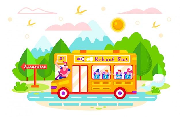 Illustration vectorielle autobus scolaire promenades en excursion. Vecteur Premium