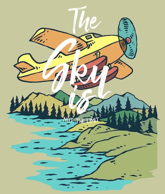 Illustration vectorielle de l'avion volant sur la montagne et le lac Vecteur Premium