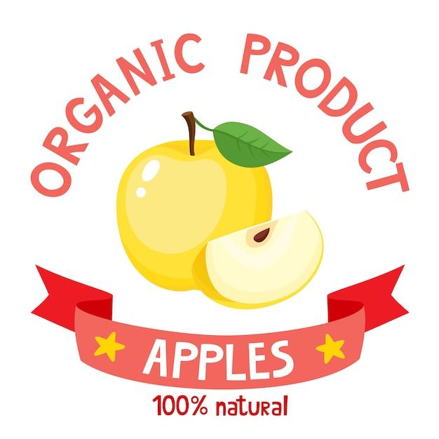 Illustration Vectorielle De Badge Organique Avec Pomme Jaune Isolé Vecteur Premium