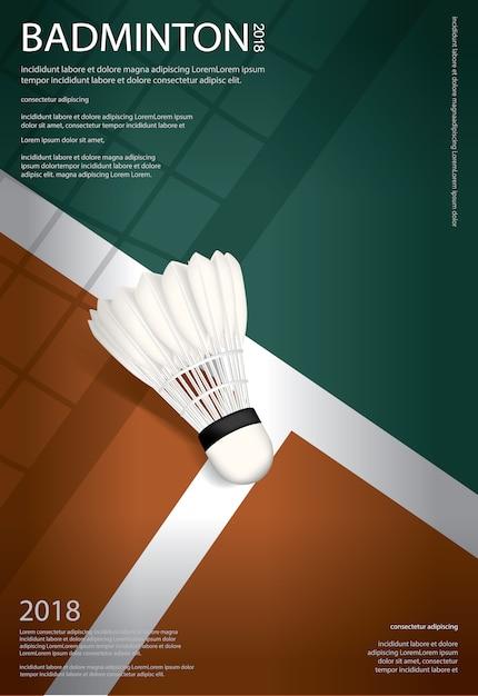 Illustration vectorielle de badminton championnat affiche Vecteur Premium