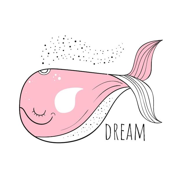 Illustration vectorielle d'une baleine mignonne. motifs scandinaves. fond de bande dessinée. Vecteur Premium