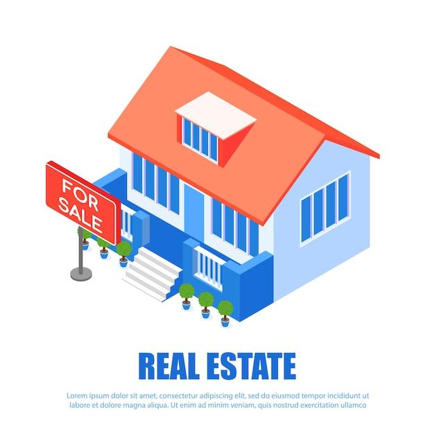 Illustration vectorielle de bannière inscription immobilier Vecteur Premium