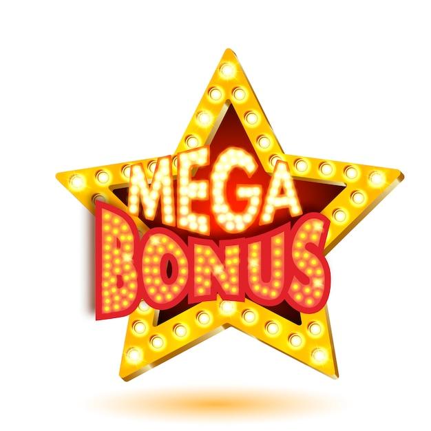 Illustration Vectorielle De Bannière Méga Bonus étoile Avec Des Lumières Vecteur Premium