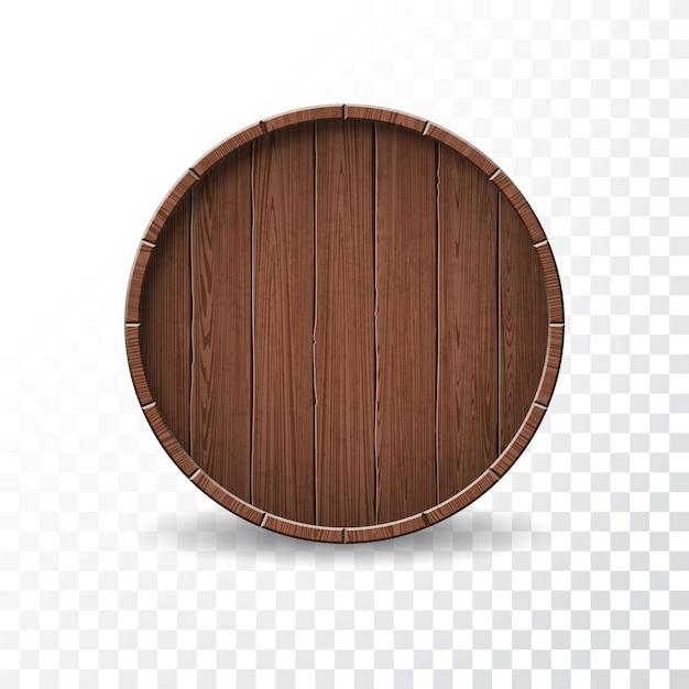 Illustration vectorielle avec barillet de bois isolé sur fond transparent. Vecteur Premium