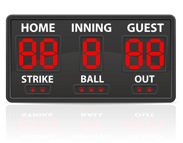 Illustration Vectorielle De Baseball Sport Tableau De Bord Numérique Vecteur Premium