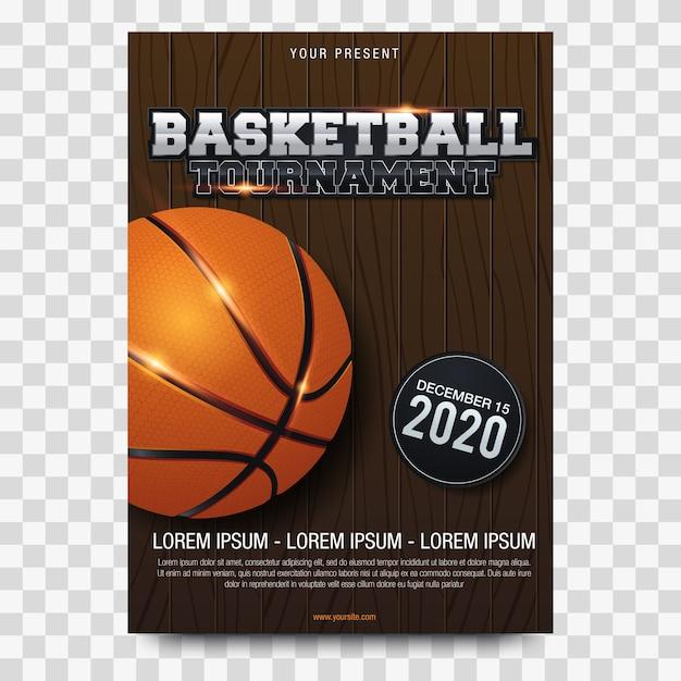 Illustration vectorielle de basketball affiche publicitaire Vecteur Premium