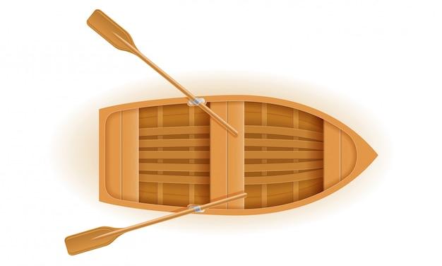 Illustration vectorielle de bateau en bois vue de dessus Vecteur Premium