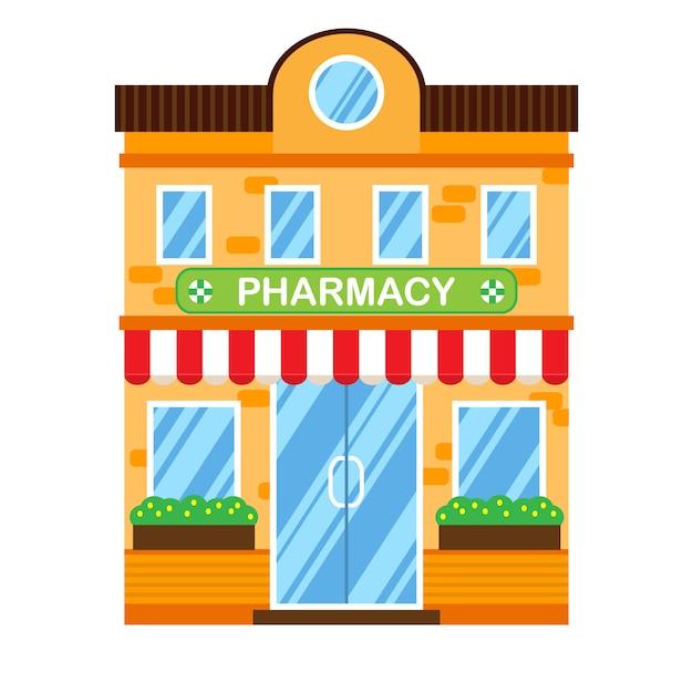 Illustration vectorielle de bâtiment rétro avec pharmacie. Vecteur Premium
