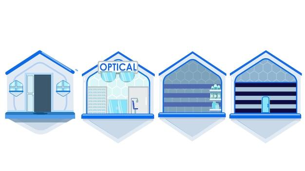 Illustration vectorielle de bâtiments isolés Vecteur Premium