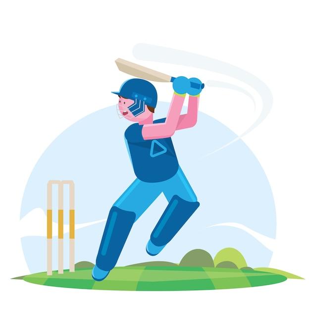 Illustration vectorielle de batteur jouant au championnat de cricket. Vecteur Premium