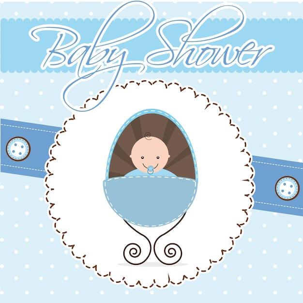 Illustration Vectorielle De Bébé Douche Carte Garçon Bébé Vecteur Premium